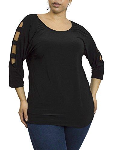 Tiffany & Grey Womens Scoop Neck Open Lattice Three Quarter Sleeve Top, Black, Size (Quarter Sleeves)