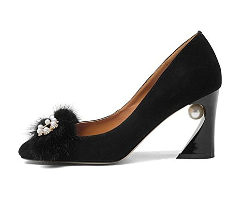 sur Fête Glisser Rugueux EUR36UK354 Haute Travail Chaussures Talons NVXIE Chunky Femmes Carrière BLACK Talon Noir Entreprise Unique TA1wxWzP8q