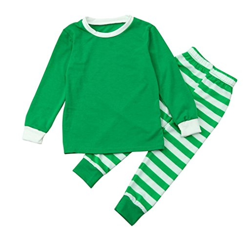 Gotd Kids Children Baby Girl Boy Clothes Winter Christmas Printed Tops+ Striped Pants Autumn Outfits Gifts (8T(7-8 Years), Green)