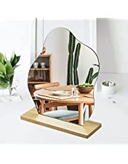 Irregular Mirror Acrylic Portable Desktop Vanity Mirror with Wooden Stand for Home Vanity Desk Decor and Beauty