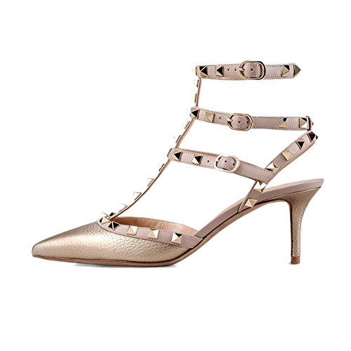 Womens Sandals High Toe 6 Pointed Pattern Stilettos 5CM Strappy Pan Heel Pumps nude Studded Slingback Shoes Gold Leather strap Caitlin 5qB0OwFt