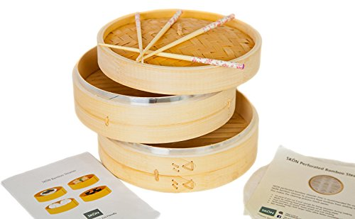 New Updated with Steel Rings! SKÖN Premium Bamboo Steamer + 2 pairs of Reusable Chopsticks + 50 pcs Perforated Liners, Silicone Coated by SKÖN (Image #6)