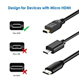 Rankie Micro HDMI to HDMI Cable, Supports Ethernet, 3D, 4K and Audio Return, 6 Feet