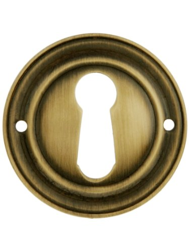 Round Stamped Brass Keyhole Cover In Antique-By-Hand Finish. Antique Keyhole - Brass Cover Keyhole