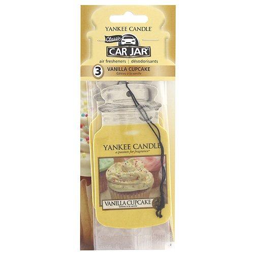 Yankee Candle 1158160E Vanille Cupcake 3 Duftbäume Auto und Haus Lufterfrischer Car Jar Karton, Plastik, Gelb, 7.9 x 19.7 x 1.5 cm