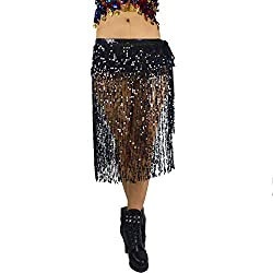 Belly Dance Long Hip Scarf In Black Sequins & Beads