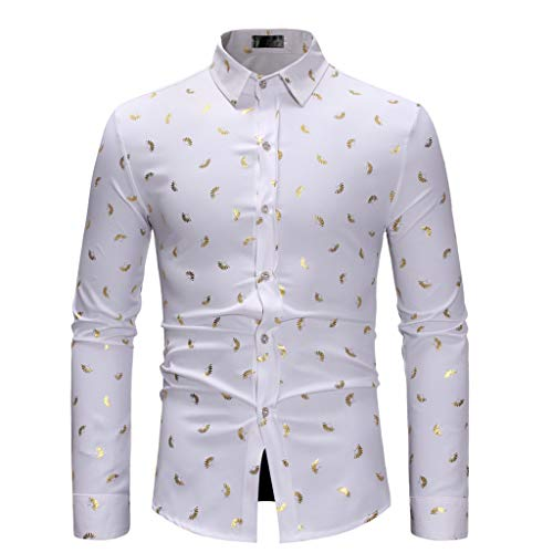 ANJUNIE Casual Jacket for Men Long Sleeve Autumn Winter Painting Large Size Shirts(White,S)
