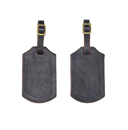 Set of 2 Handmade Genuine Leather Travel ID Luggage Tags (Black)