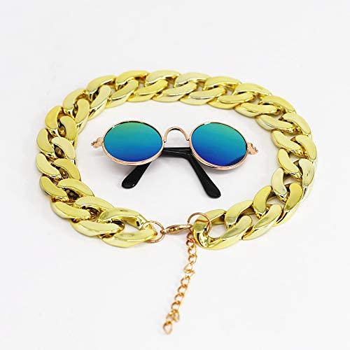 Kitipcoo Cool Stylish and Funny Pet Sunglasses Classic Retro Circular Metal Prince Sunglasses Necklace Set for Sphynx Cats Chihuahua or Small Dogs Fashion Costume (Sunglasses+Necklace) 22