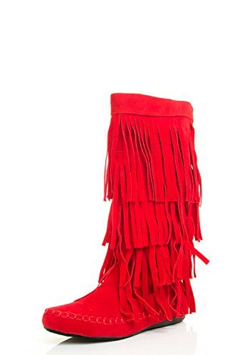 AXNY Women's Layered Fringe Detail Mid Calf Flat Moccasin Boot 10 Red ()