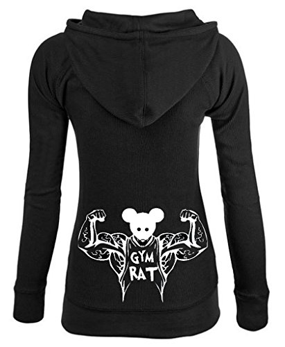 Junior's Gym Rat Thermal Zipper Hoodie Large Black (Hooded Rat)