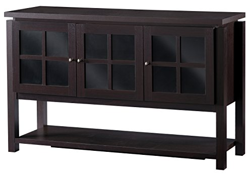 (Contemporary Multi-Storage Dining Buffet with 3 Glass-Paned Cabinet Doors, Durable Wood Construction, 2 Shelves in Each Cabinet, Spacious Lower Open Shelf, Simple Round Knobs, Sleek Walnut)