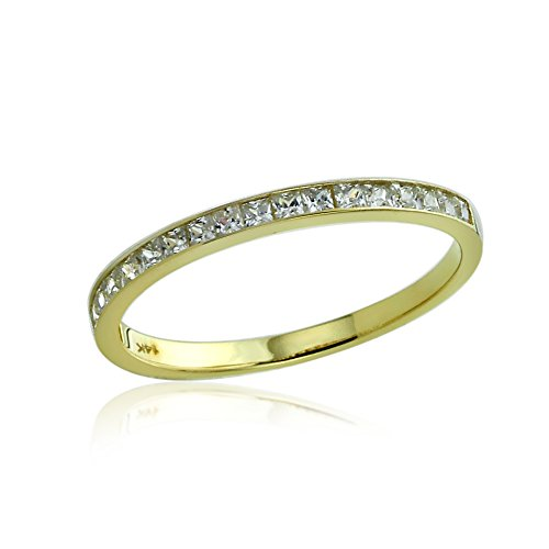 Solitaire Cathedral Fit Comfort - 14K Yellow Gold Engagement Ring CZ 2mm Princess Cut Channel Set Wedding Band Ring -Size: 9