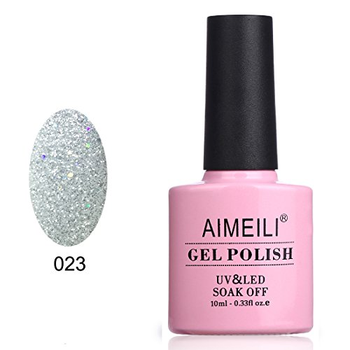 AIMEILI Soak Off UV LED Gel Nail Polish - Silver Glitter Explosion (023) 10ml]()