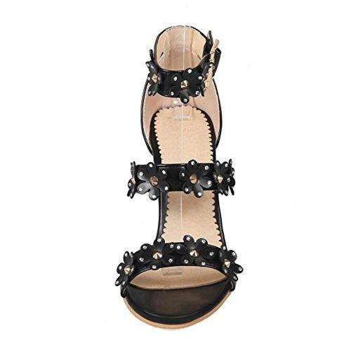 Black Femmes Hauts Sandales Talons Ete Taoffen Chaussures YdaYq