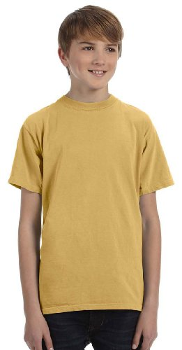 (Authentic Pigment Youth Pigment & Direct-Dyed T-Shirt, MUSTARD, X-Small)