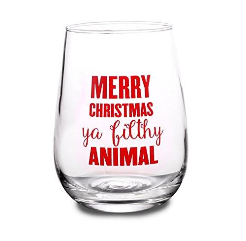 BarConic Merry Christmas Ya Filthy Animal Stemless Wine Glass