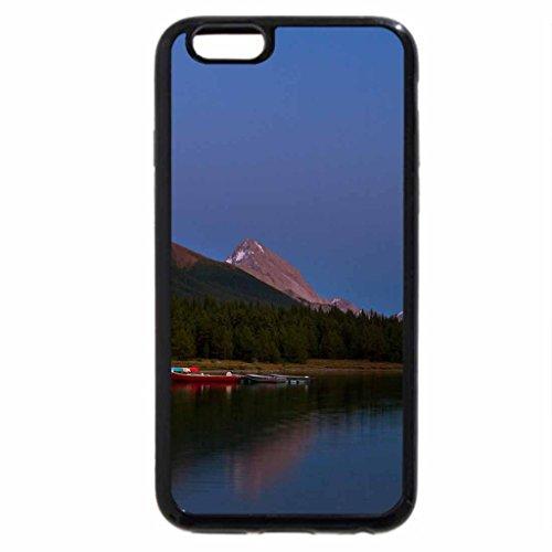 iPhone 6S / iPhone 6 Case (Black) boathouse on maligne lake canada under moonlight
