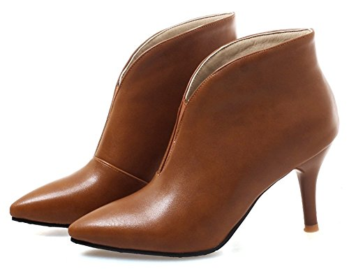 Trendy Women's Pointed Short Kitten Heels Booties Toe Brown Mofri Pull Ankle Boots on W5gFnFx