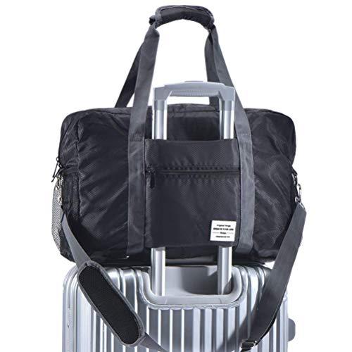 Travel Trolley Bag - Arxus Travel Lightweight Waterproof Foldable Storage Carry Luggage Duffle Tote Bag (Black)