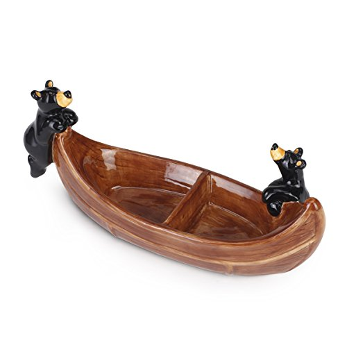 Big Sky Carvers Bear Canoe Divided Dish, Multicolor - Bear Canoe