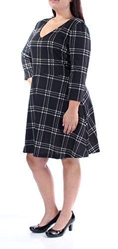 Maison Jules Womens Plaid V-Neck Casual Dress Black XL from Maison Jules
