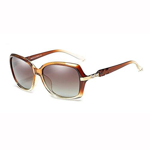WX Cara Beat Gafas De Street Color De Redonda Polarizada Diamante Gafas xin Luz Moda Tea Rojo Anti Imitación Sra Sol UV rZqaTrYw