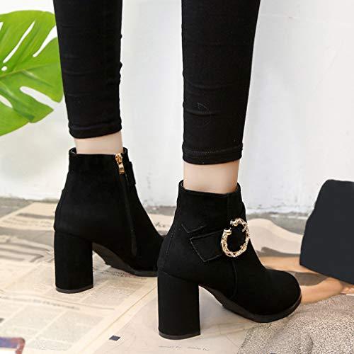Cuña Para Mujer Bola Botines Con Zipper Pelo Zapatillas Botas Boots Punta Color Cabeza Black Redonda Zapatos Pure 6 Bazhahei Ante Gamuza De Sxp6qwZ