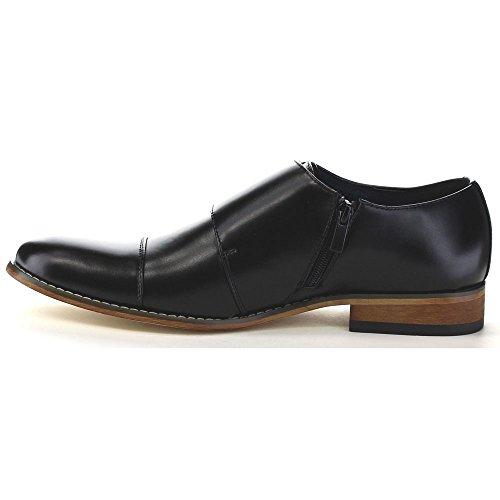 Uv Signature Ea27 Mens Chic Cap Toe Monk Strap Dress Shoes Run Half Size Big Black