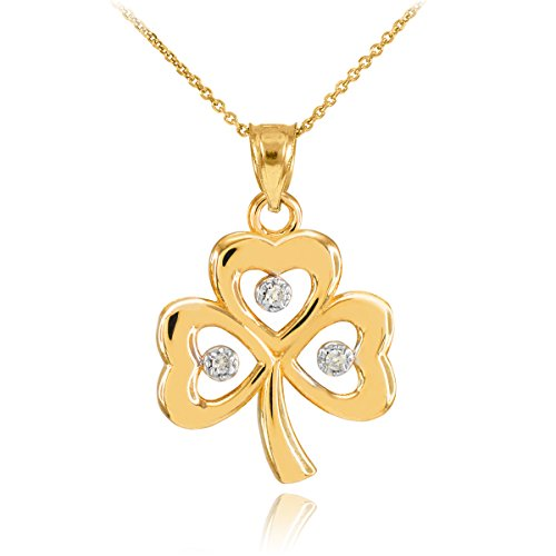14k Yellow Gold Shamrock Charm Three Diamond Clover Leaf Pendant Necklace, 16