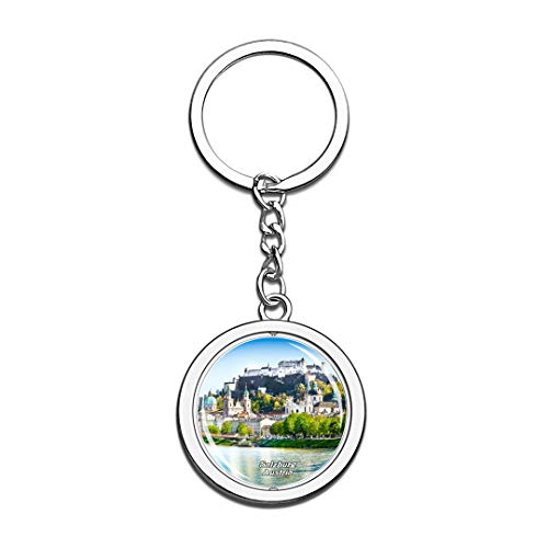 Austria Keychain Fortress Hohensalzburg Salzburg Key Chain 3D Crystal Spinning Round Stainless Steel Keychains Travel City Souvenirs Key Chain Ring -