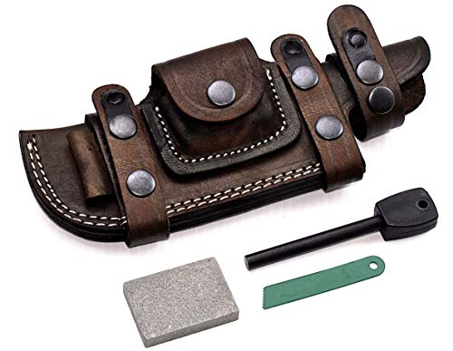 (CFK Cutlery Company Custom Handmade Brown Bushcraft Tracker/Skinner Knife Buffalo Leather Right/Left Hand Horizontal Scout Sheath & Sharpening Stone & Fire Starter Rod Set CFK138)