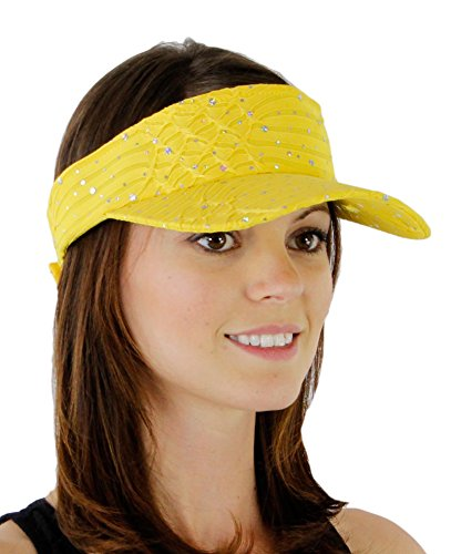 Greatlookz Fashion Glitter Sequin Visor for Ladies, Yellow