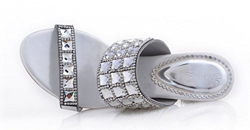 Bride Party Work CFP Silvery Womens Leather Unique Slippers on Comfort Rhinestone Wedding Slip Show EqBqY