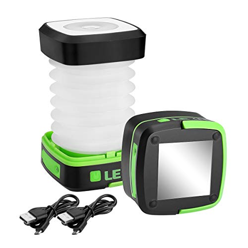 LE Collapsible LED Camping Lantern, Portable, 3 Lighting Modes, USB Rechargeable Tent Light for Outdoor, Hiking, Fishing, Emergency and More, Pack of 2