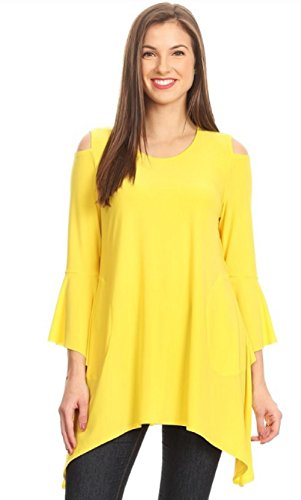 Love My Seamless Women's Solid Long Relaxed Fit Cold Shoulder Cutouts Tunic top Long Bell Sleeves Asymmetric Hem & Pockets (Yellow, S)