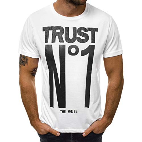 Men's Letter Printed T Shirt Fashion top Casual Slim Short Sleeve Blouse Outdoor t Shirt -