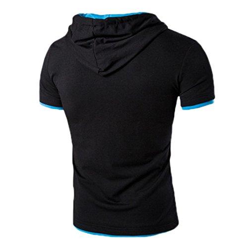 Manches Pour shirt Bleu Tefamore T Hommes À Courtes xngwSqCA