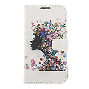JOE Flower Girl Drawing Pattern Faux Leather Hard Plastic Cover Pouches for Samsung Galaxy Note2 N7100