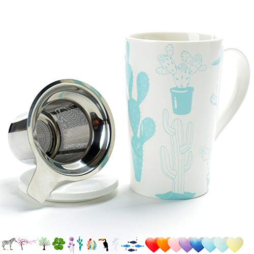 TEANAGOO M58-9 Tea Mug with Infuser and Lid, 18 OZ, Cactus, Travel Teaware with Filter, Cup Steeper Maker, Brewing Strainer for Loose Leaf Tea,Diffuser mug set for Tea Lover Gift ceramic Simple ()