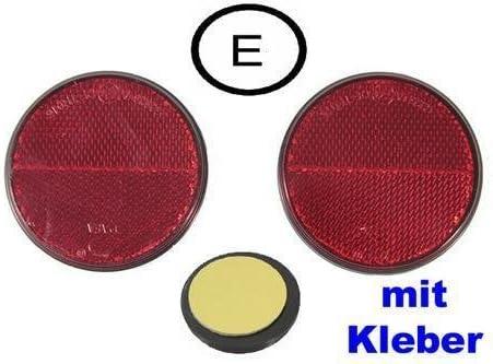 2x Reflektor Katzenauge Seitenstrahler 7,25cm /Ø mit Kleber ROT E11