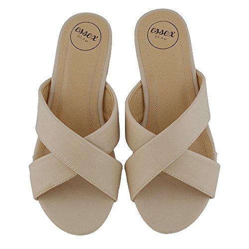 ESSEX GLAM Mujer Cruzar Ponerse Sintético Deslizador Sandalia Zapatos Desnudo Cuero Sintético