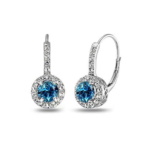 White Topaz Gemstone Earrings (Sterling Silver London Blue Topaz & White Topaz Round Dainty Halo Leverback Earrings)