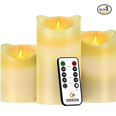 Gideon8482; Set of 3 Flameless LED Candles (4 inch, 5 inch, 6 inch) - Real Wax & Real Flickering Candle Motion - with Multi-Function Remote (On/Off, Timer, Dimmer) - Vanilla Scented, Ivory