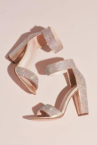 - David's Bridal Crystal Block-Heel Sandals with Velcro Ankle Strap Style CELINA16, Nude, 8