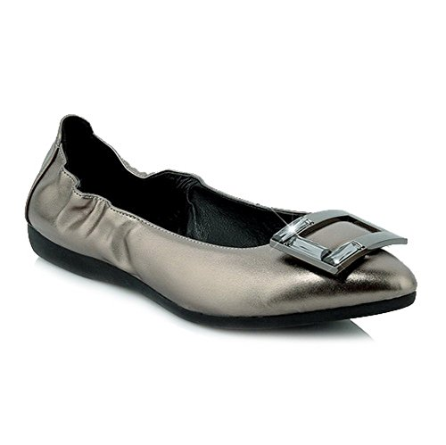 AmoonyFashion Womens No-Heel Patent Leather Solid Pull on Closed Pointed Toe Flats Shoes Gray EjtEjpI88