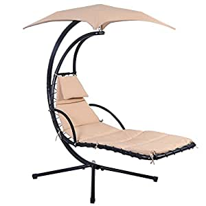 Amazon Com Giantex Hanging Chaise Lounge Chair Arc Stand