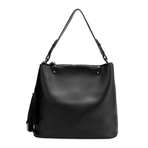 Melie Bianco Niccola Shoulder Bag Vegan Leather Tote Handbag - Black (Melie Bianco Handbag Tote)