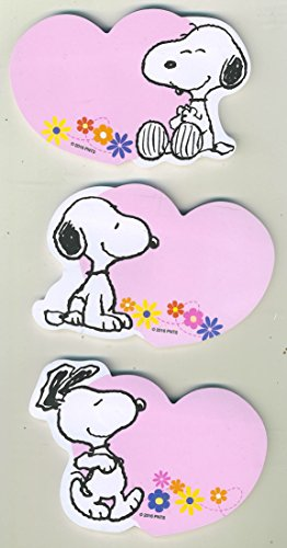Peanuts Character Snoopy Pink Heart with Flowers Sticky Note Pads, Set of 3