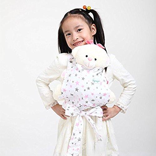Baby Doll Carrier Mei Tai Sling Toy pour enfants Enfant enfant en bas d'enfant Dos, Mini-porteuse, Hibou, Dot, Fleur, Kaléidoscope (Pink Star) CN